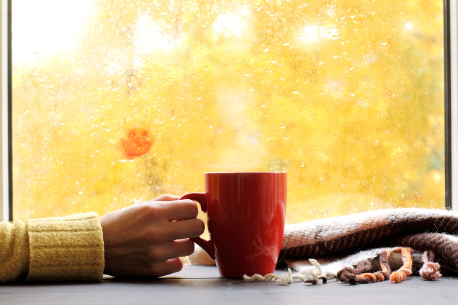 woman sitting with coffee in front of window enjoying her healthy fall indoor air quality
